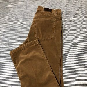 Brown Calvin Klein corduroy straight leg pants